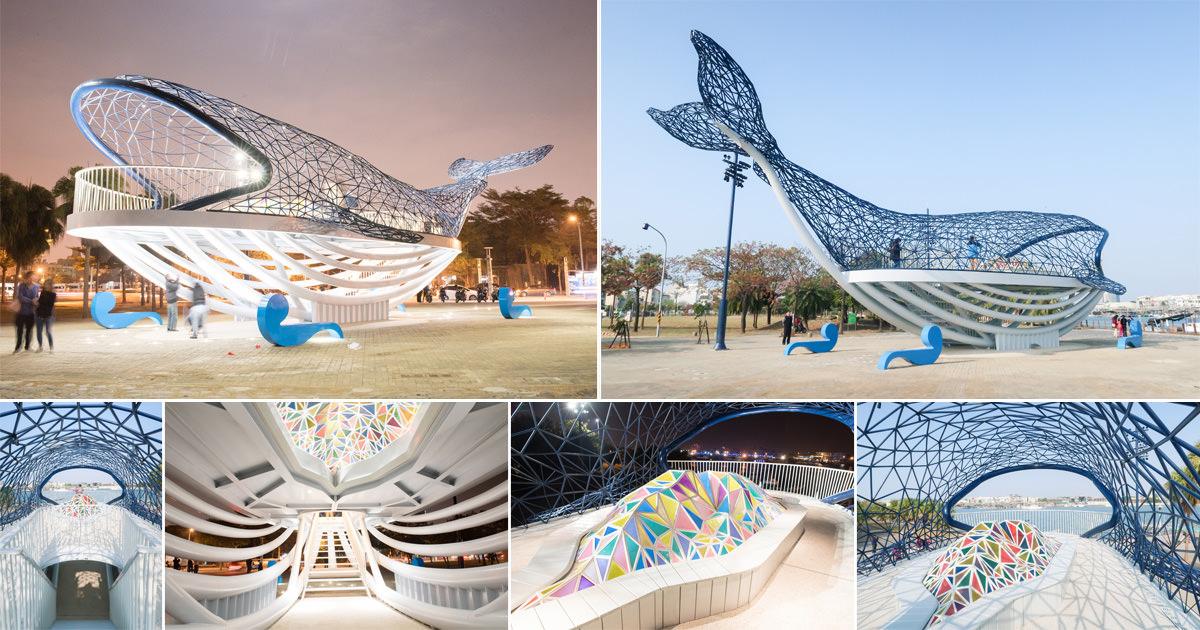 【台南安平】台南新地標|23公尺長鯨魚公共藝術|欣賞安平港美景|進入鯨魚肚子賞夕陽~大魚的祝福