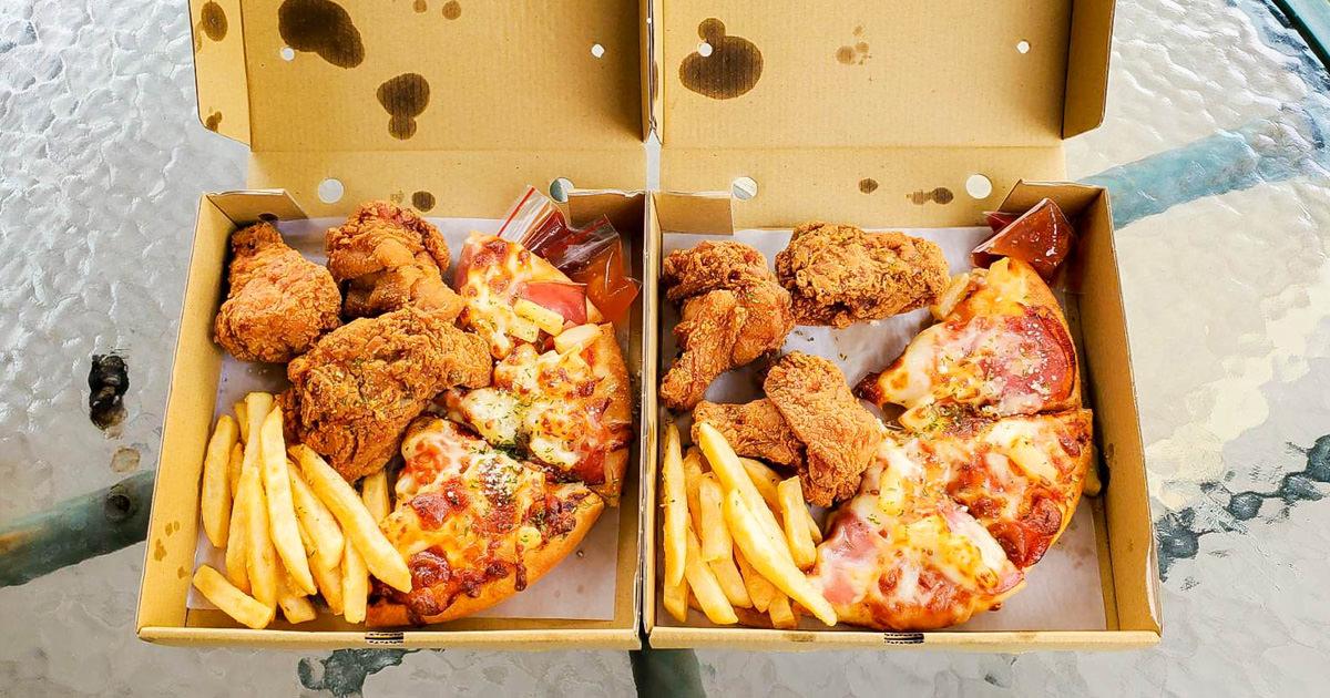【台南美食】超值組合餐99元|夏威夷比薩+炸雞+薯條|現炸現烤~~凱吉斯外帶餐盒