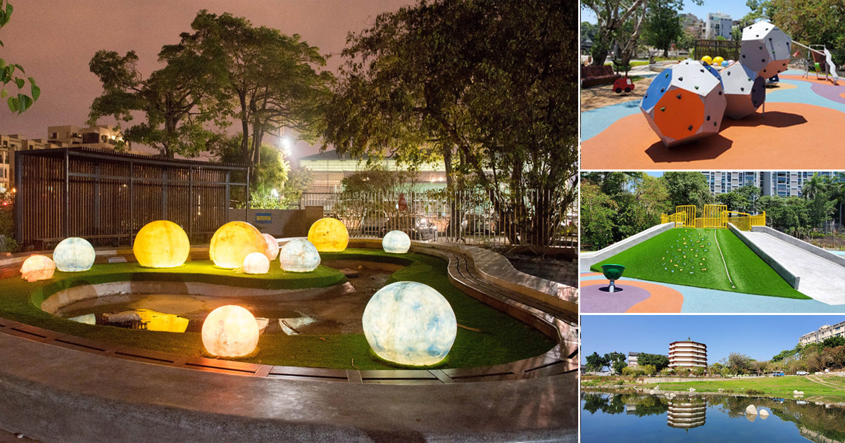 【台南景點】城市中的放鬆景點|白天和夜景都很漂亮|在月見橋上賞月|旁邊有兒童遊樂場~~竹溪水岸園區及月見橋