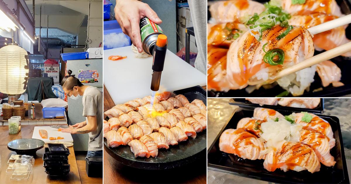 【臺南美食】平價握壽司|炙燒鮭魚握壽司100元6貫|現做握壽司|限量供應~友愛市場立吞壽司