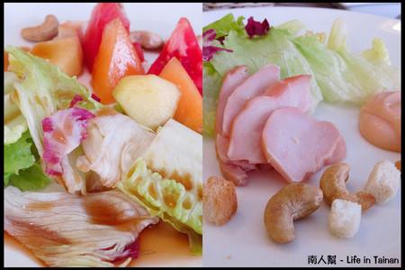 羅萊義法廚房-燻雞千島時蔬沙拉、季節水果油醋沙拉